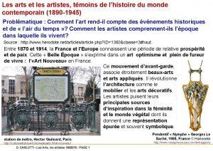 Les arts et les artistes tmoins de lhistoire