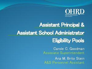Assistant Principal Assistant School Administrator Eligibility Pools Carole