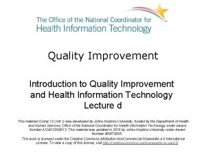 Quality Improvement Introduction to Quality Improvement and Health