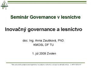 Seminr Governance v lesnctve Inovan governance a lesnctvo