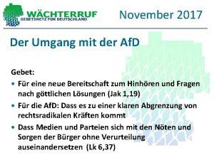 November 2017 Der Umgang mit der Af D