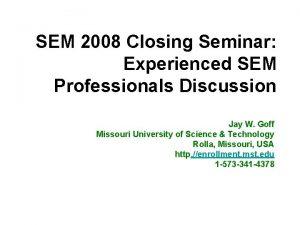SEM 2008 Closing Seminar Experienced SEM Professionals Discussion