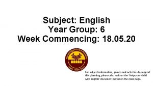 Subject English Year Group 6 Week Commencing 18