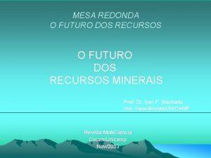 MESA REDONDA O FUTURO DOS RECURSOS MINERAIS Prof