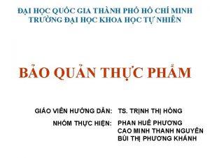 I HC QUC GIA THNH PH H CH