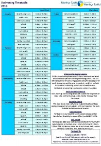 Swimming Timetable 2016 Main Pool Monday Tuesday Wednesday