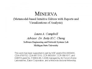 MINERVA Metamodelbased Intuitive Editors with Reports and Visualizations