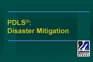 PDLS Disaster Mitigation What is Disaster Mitigation Steps