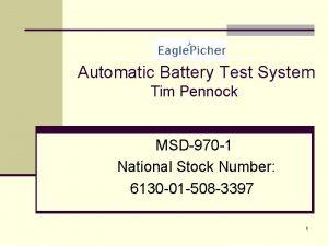 Automatic Battery Test System Tim Pennock MSD970 1
