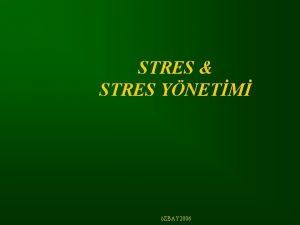 STRES STRES YNETM ZBAY 2006 Stres nedir Stres