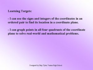 Learning Targets I can use the signs and