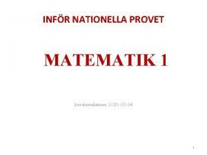 INFR NATIONELLA PROVET MATEMATIK 1 Versionsdatum 2015 05