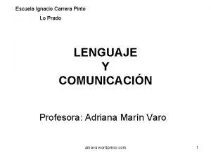 Escuela Ignacio Carrera Pinto Lo Prado LENGUAJE Y