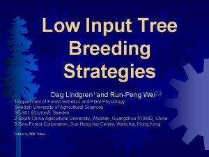 Low Input Tree Breeding Strategies Dag Lindgren 1