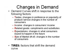 Changes in Demand Demand Curves shift in response
