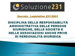 Decreto Legislativo 2312001 DISCIPLINA DELLA RESPONSABILIT AMMINISTRATIVA DELLE