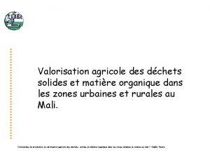 Valorisation agricole des dchets solides et matire organique