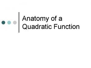Anatomy of a Quadratic Function Quadratic Form Any