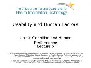 Usability and Human Factors Unit 3 Cognition and