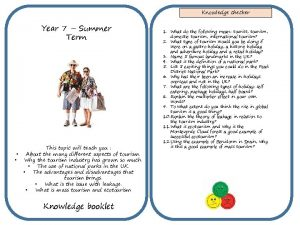 Knowledge checker Year 7 Summer Term This topic