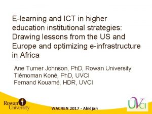 Elearning and ICT in higher education institutional strategies
