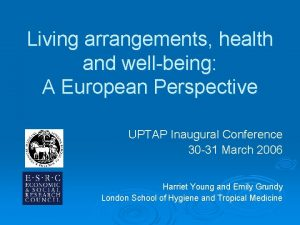 Living arrangements health and wellbeing A European Perspective