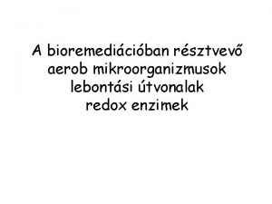 A bioremediciban rsztvev aerob mikroorganizmusok lebontsi tvonalak redox