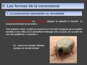 II Les formes de la conscience 1 La