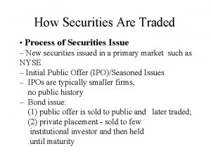 How Securities Are Traded Process of Securities Issue