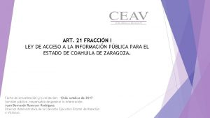 ART 21 FRACCIN I LEY DE ACCESO A