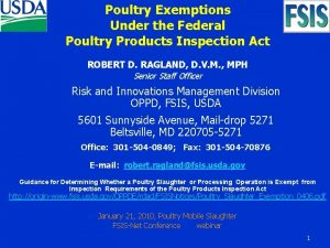 Poultry Exemptions Under the Federal Poultry Products Inspection