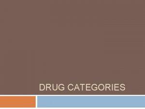 DRUG CATEGORIES Hallucinogens Drugs include LSD acid PCP