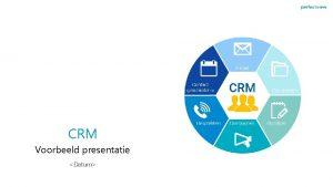CRM Voorbeeld presentatie Datum Agenda Introductie aanleiding Wat