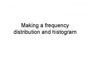 Making a frequency distribution and histogram The Data