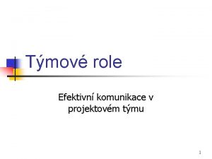 Tmov role Efektivn komunikace v projektovm tmu 1