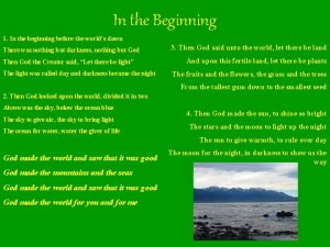 In the Beginning 1 In the beginning before