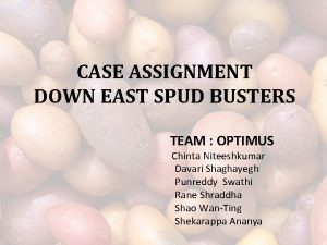 CASE ASSIGNMENT DOWN EAST SPUD BUSTERS TEAM OPTIMUS
