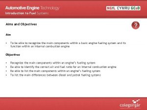 Introduction to Fuel Systems Aims and Objectives Aim