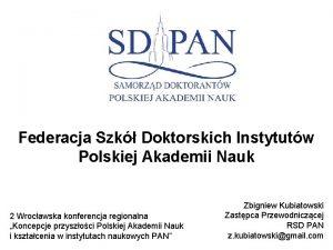 Federacja Szk Doktorskich Instytutw Polskiej Akademii Nauk 2