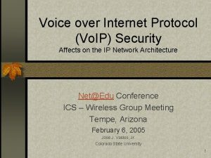 Voice over Internet Protocol Vo IP Security Affects