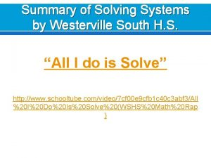 Summary of Solving Systems by Westerville South H