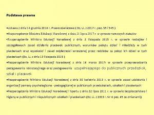 Podstawa prawna Ustawa z dnia 14 grudnia 2016