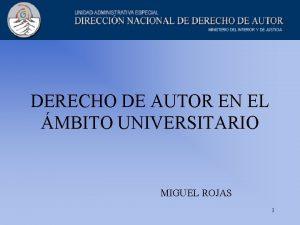 DERECHO DE AUTOR EN EL MBITO UNIVERSITARIO MIGUEL