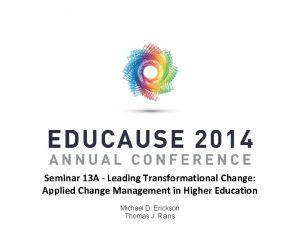 Seminar 13 A Leading Transformational Change Applied Change