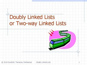 Doubly Linked Lists or Twoway Linked Lists 2014