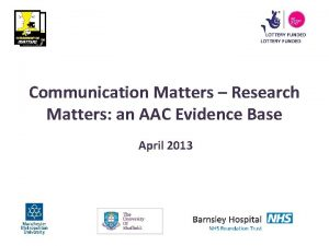 Communication Matters Research Matters an AAC Evidence Base
