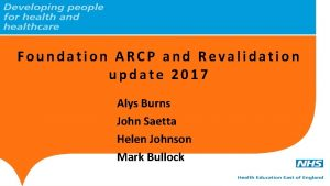Foundation ARCP and Revalidation update 2017 Alys Burns