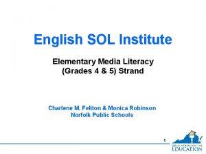 English SOL Institute Elementary Media Literacy Grades 4