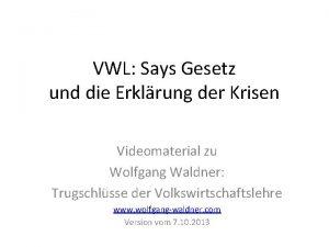 VWL Says Gesetz und die Erklrung der Krisen