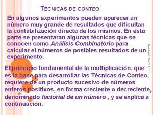 TCNICAS DE CONTEO Bernardo F Marco A G